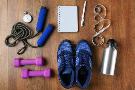 Athlete equipment set with notebook