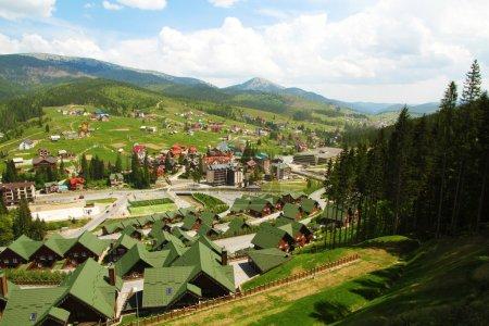 Houses over Carpathian mountains