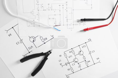 Photo for Electrical drawings with tools, top view - Royalty Free Image