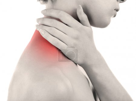 Photo for Young woman with neck pain close up - Royalty Free Image