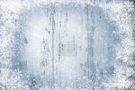 Photo pour Couleur fond en bois avec effet neige - image libre de droit