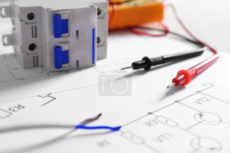 Photo for Electrical drawings with tools closeup - Royalty Free Image