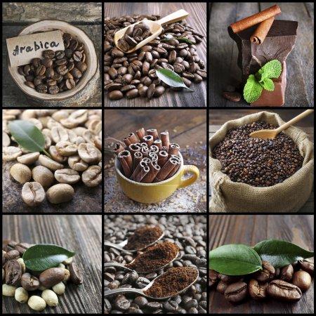 Photo pour Café, collage thématique sur fond - image libre de droit