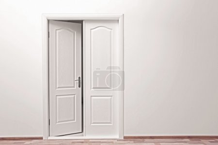 White wall and open door