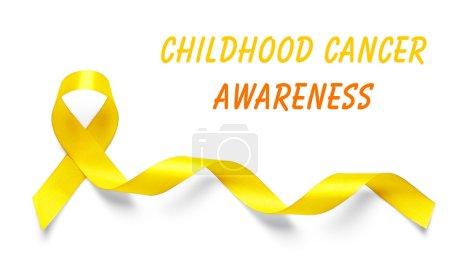 Photo pour Ruban jaune et texte de sensibilisation au Cancer infantile sur fond clair - image libre de droit