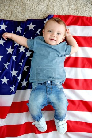 Baby boy and American flag