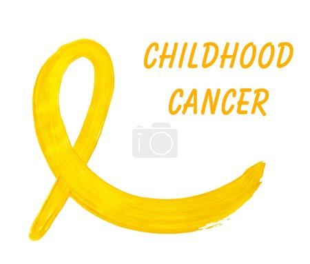Photo pour Ruban de conscience jaune peinte et texte des cancers de l'enfant isolé sur blanc - image libre de droit