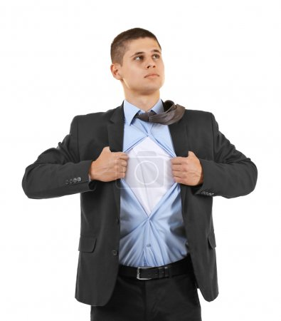 Foto de Super héroe joven empresario, aislado en blanco - Imagen libre de derechos