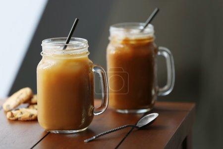 Iced coffee in glass jar