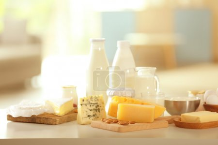 Dairy products on table