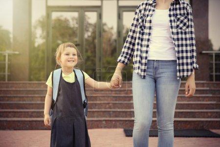 taking daughter to school