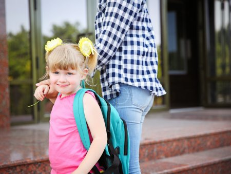 taking daughter to school