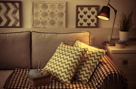 Comfortable sofa with pillows