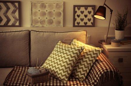 Comfortable sofa with pillows