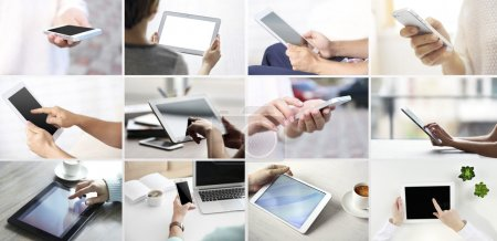 Photo for Hand holding mobile phone and digital tablet , collage of different photos - Royalty Free Image
