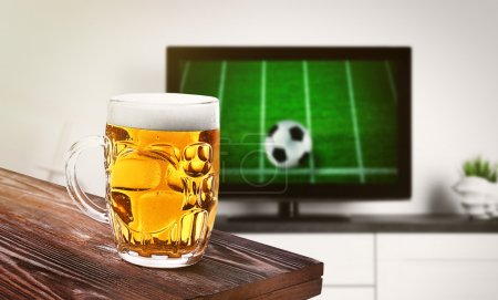 beer in front of football