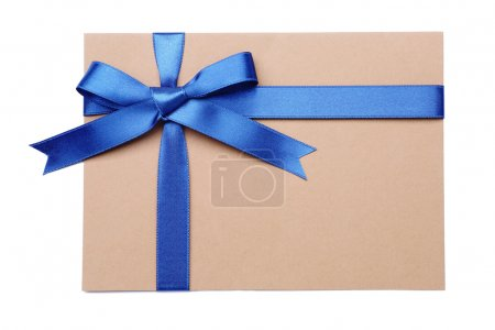 Gift card with blue ribbon