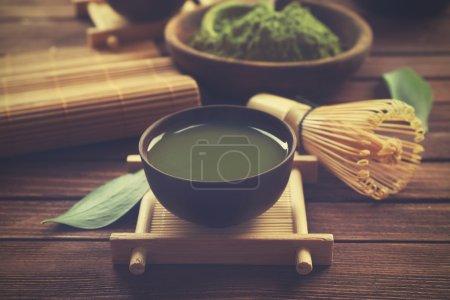 Cup of fresh matcha tea
