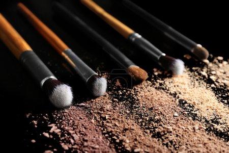 Make up brushes and eye shadows
