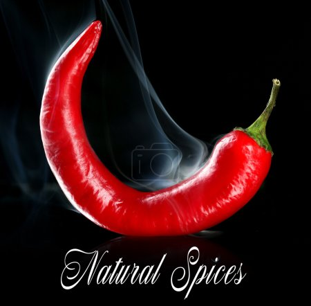 Photo for Red hot chili pepper isolated on   black - Royalty Free Image