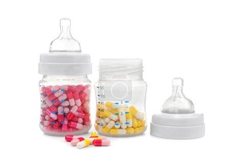 Baby bottles full of pills