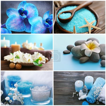 Collage of beautiful spa compositions. SPA treatment concept.