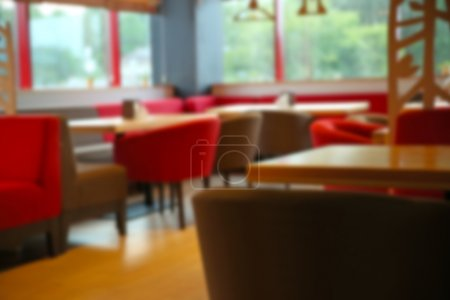 Blurred view of contemporary cafe