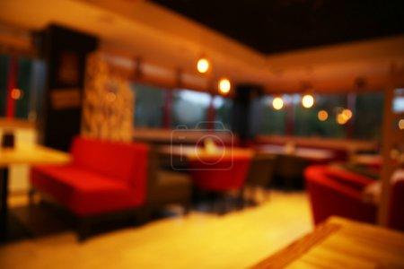 Foto de Blurred view of contemporary cafe interior design - Imagen libre de derechos