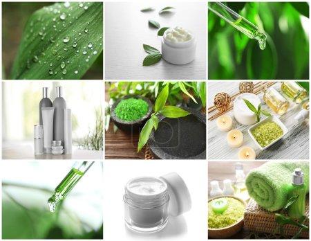 Photo pour Collage de produits cosmétiques et compositions de spa. Concept de traitement beauté . - image libre de droit