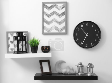 Photo for Shelves with home decor in modern room - Royalty Free Image
