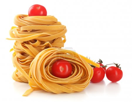 Photo for Raw homemade pasta and tomatoes, isolated on white - Royalty Free Image