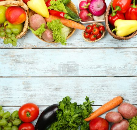 Photo for Summer frame with fresh organic vegetables and fruits on wooden background - Royalty Free Image