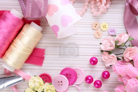 Photo for Scrapbooking craft materials on light background - Royalty Free Image