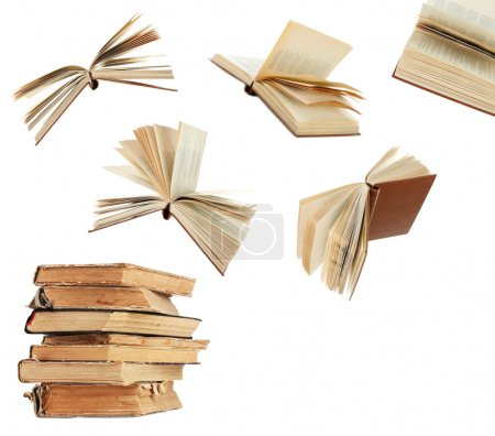 Photo for Flying books isolated on white - Royalty Free Image