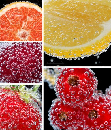 Collage of fruit and berries in water with bubbles on black background