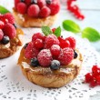 Sweet cakes with berries on table close-up...