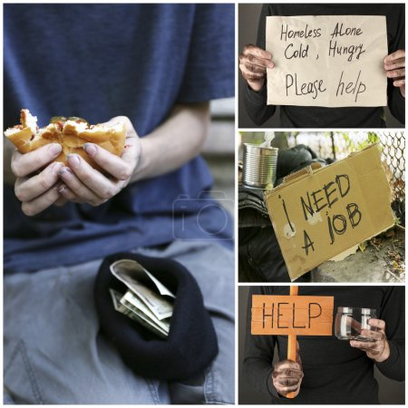 Homeless men ask for help collage