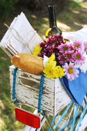 Bicycle with flowers and bread