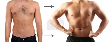 Health and fitness concept. Before and after.