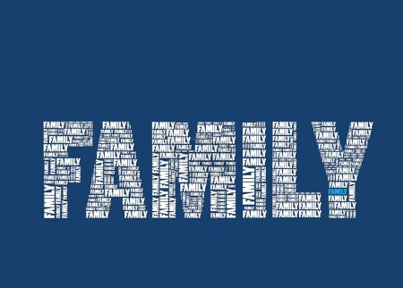 Word family on dark blue
