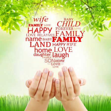Family concept, family word cloud in hands
