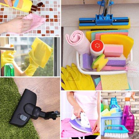 Photo pour Notion propre. Nettoyage fournitures et outils de collage - image libre de droit