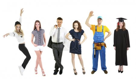 Photo pour Personnes de différentes professions et professions dans le collage isolé sur blanc - image libre de droit
