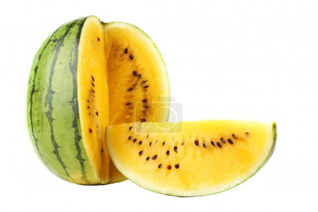 Photo for Yellow watermelon isolated on white - Royalty Free Image