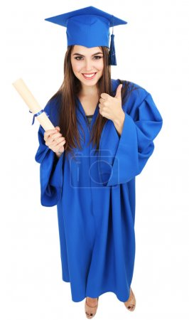 Woman graduate student wearing graduation hat and gown, isolated on white