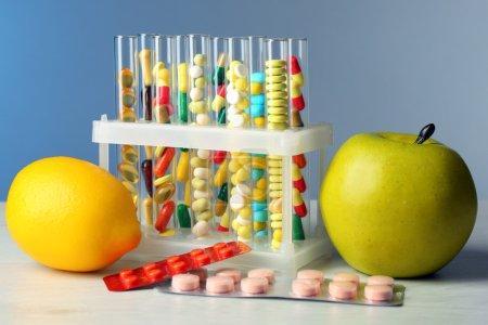 Color drugs in test tubes