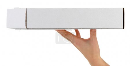 Hand with cardboard pizza box