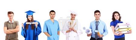 Photo pour Personnes de différentes professions dans le collage isolé sur blanc - image libre de droit