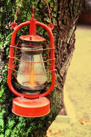 Lantern outdoors, close-up