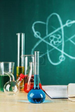Desk in chemistry class